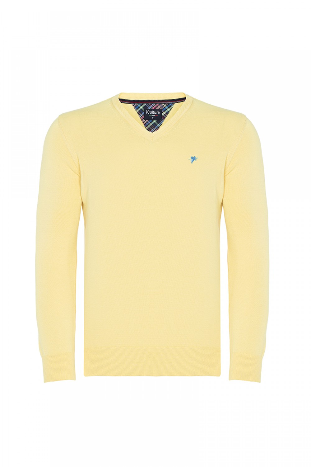 Men's Pullover  V-neck Yellow Cotton