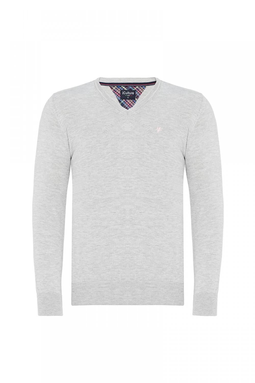 Baumwoll Pullover V-Ausschnitt GRAU MEL. für Herren