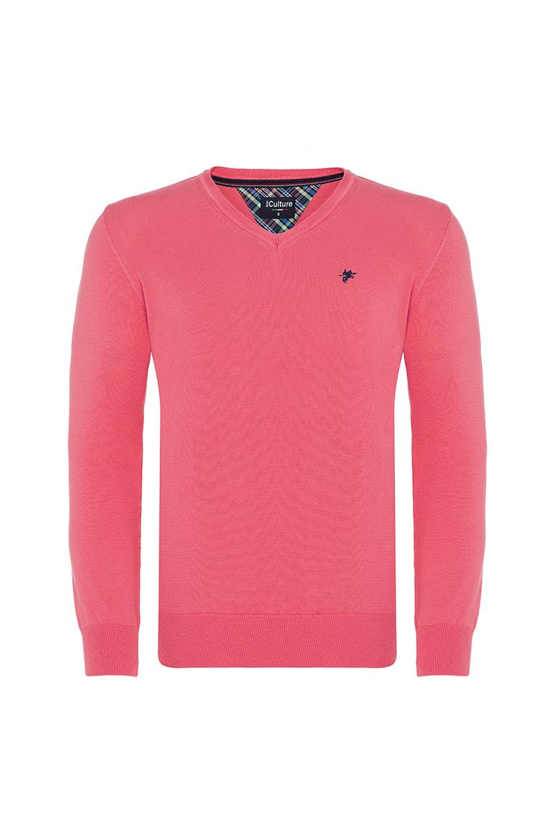 Baumwoll Pullover V-Ausschnitt KORALLE für Herren