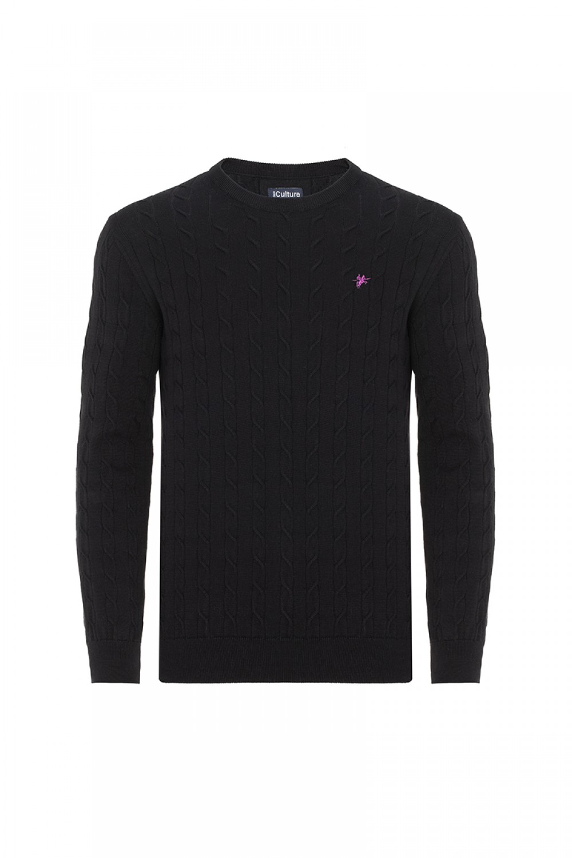 Baumwoll Pullover Rundhals BLACK für Herren