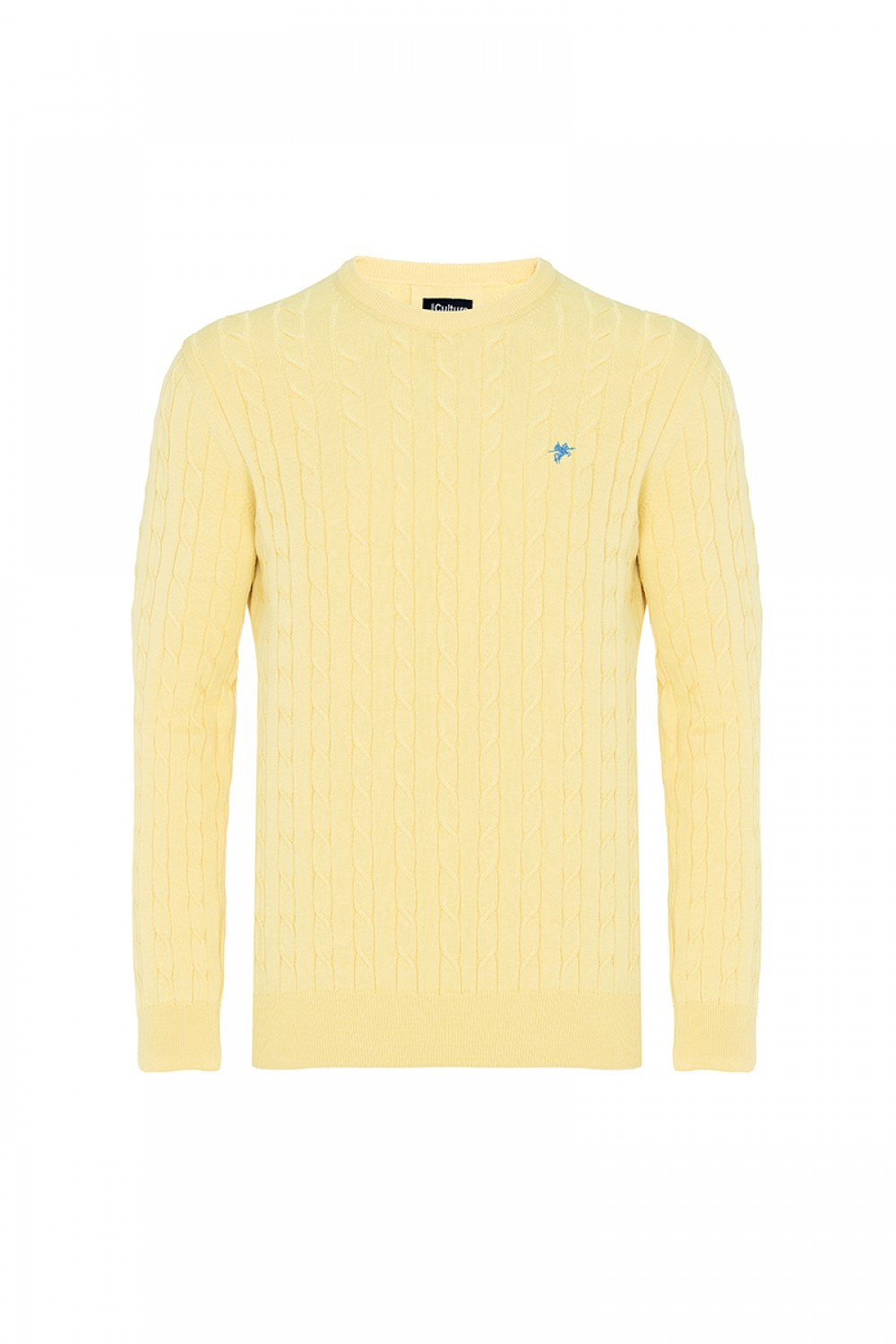 Men's Pullover  Crew Neck Yellow Cotton