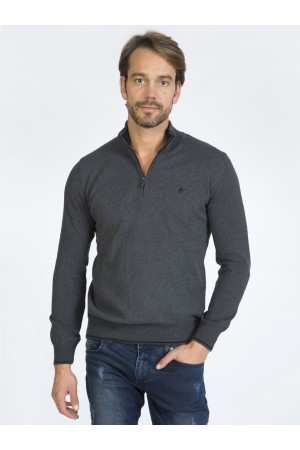 Men's Pullover  Standing Collar Heather Anthracite Cotton