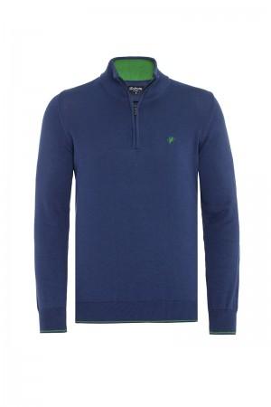 Men's Pullover  Standing Collar D.Blue Cotton