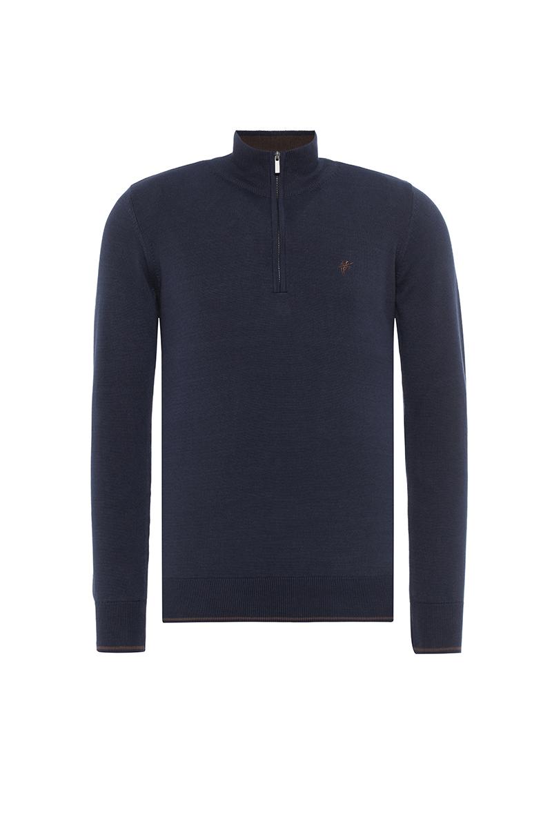 Baumwoll Pullover Stehkragen NAVY für Herren