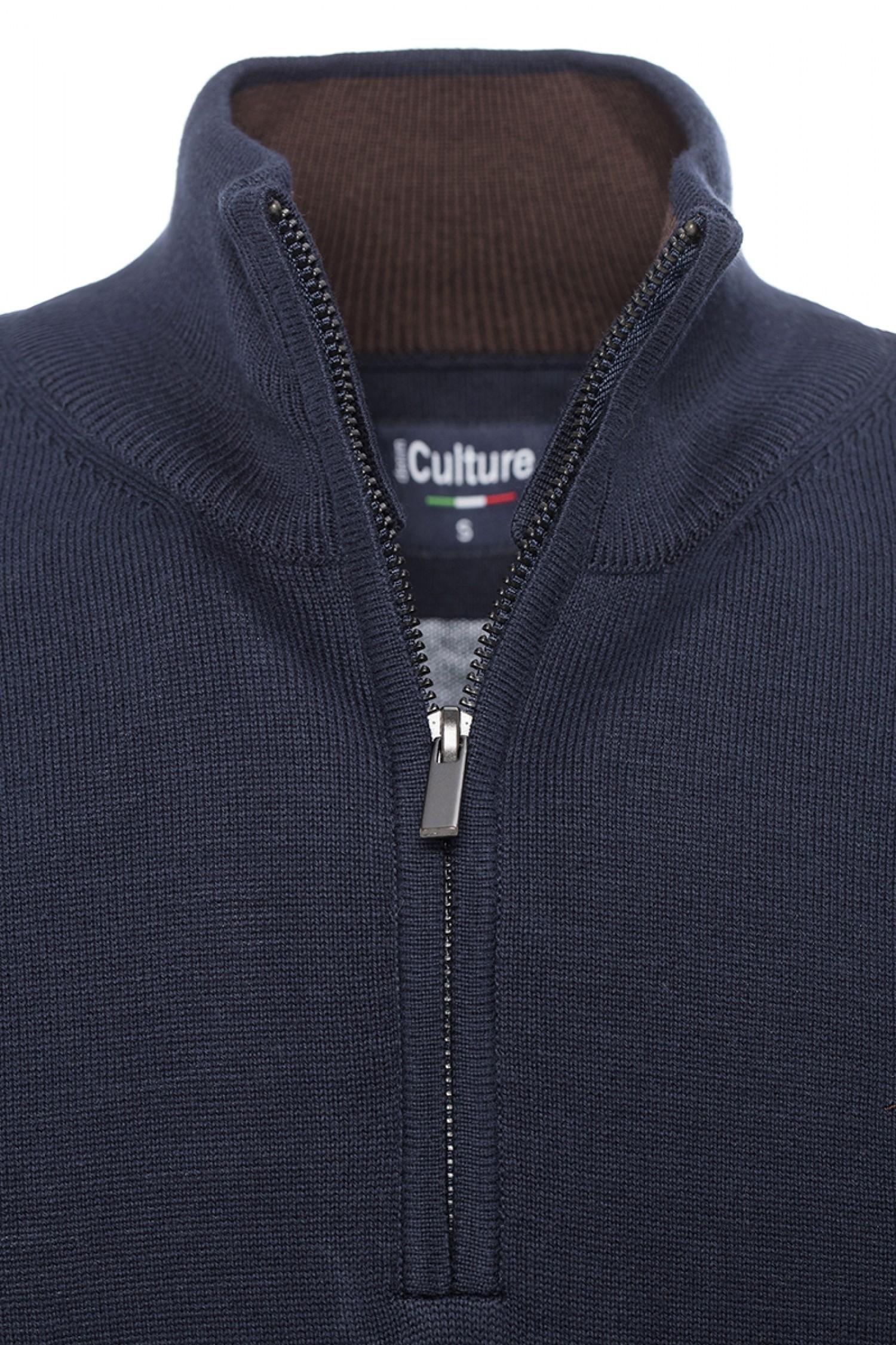 günstige Preise schön billig erstaunliche Qualität Baumwoll Pullover Stehkragen NAVY für Herren