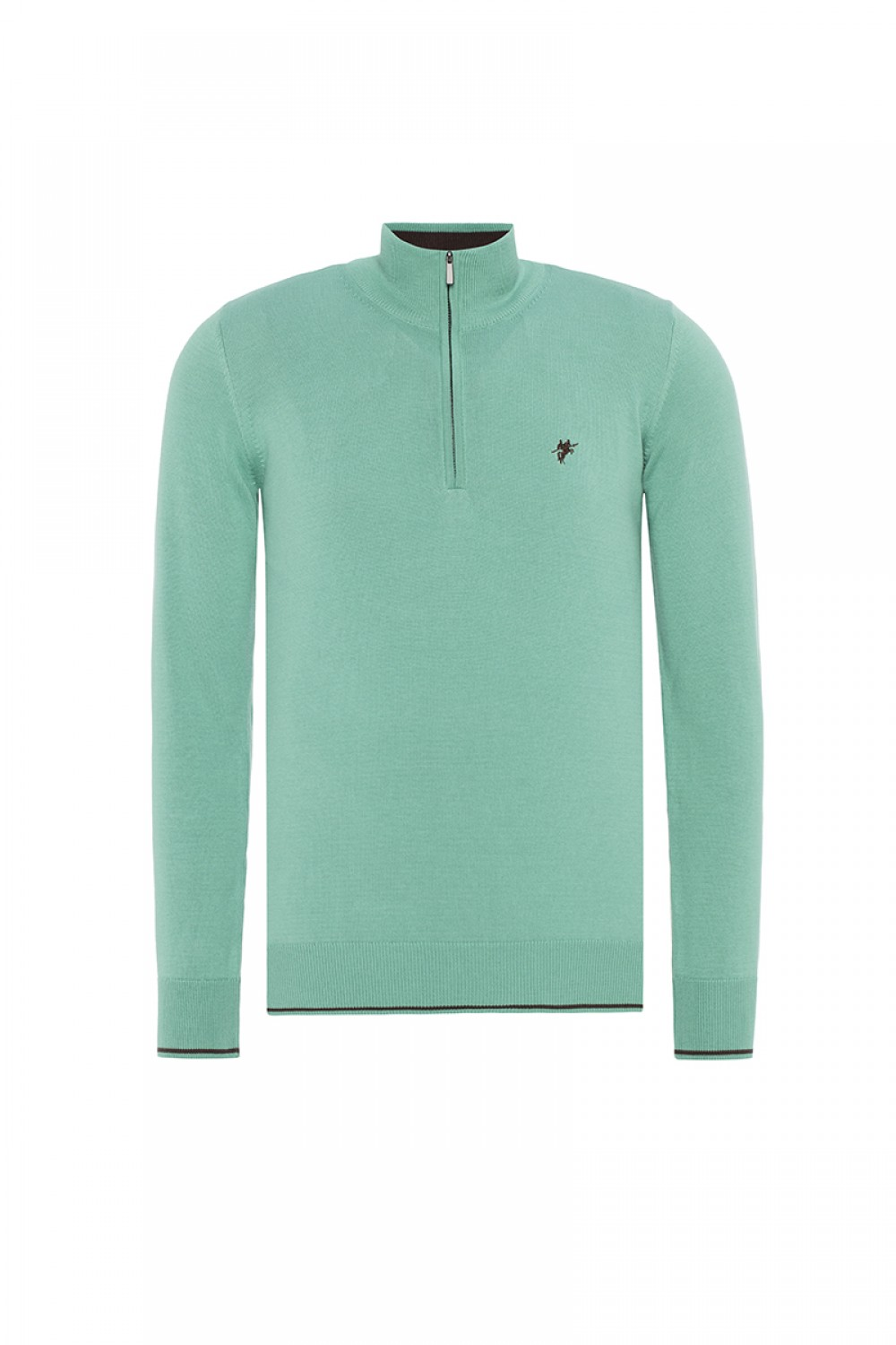 Men's Pullover  Standing Collar Pistachio Cotton