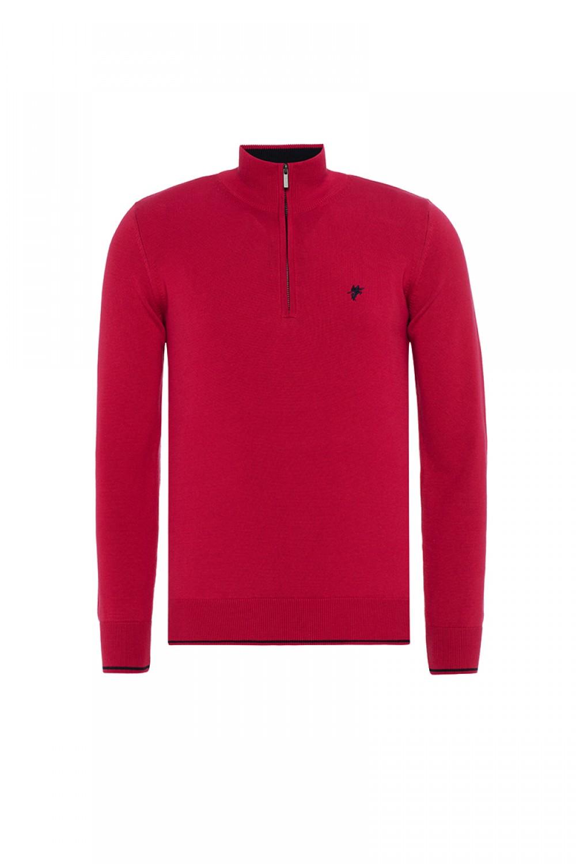 Baumwoll Pullover Stehkragen ROT für Herren