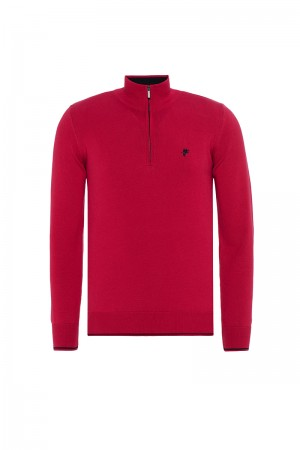 Men's Pullover  Standing Collar Red Cotton