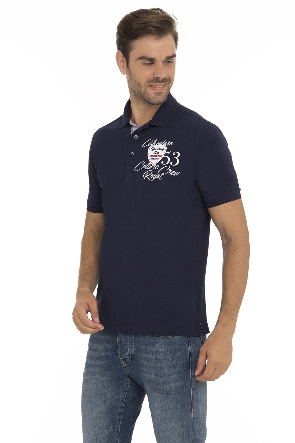 Men's Poloshirt Pique Navy Cotton