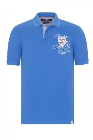 Baumwoll Poloshirt Kurzarm Pique ROYAL für Herren
