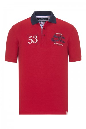 Men's Poloshirt Pique Red Cotton