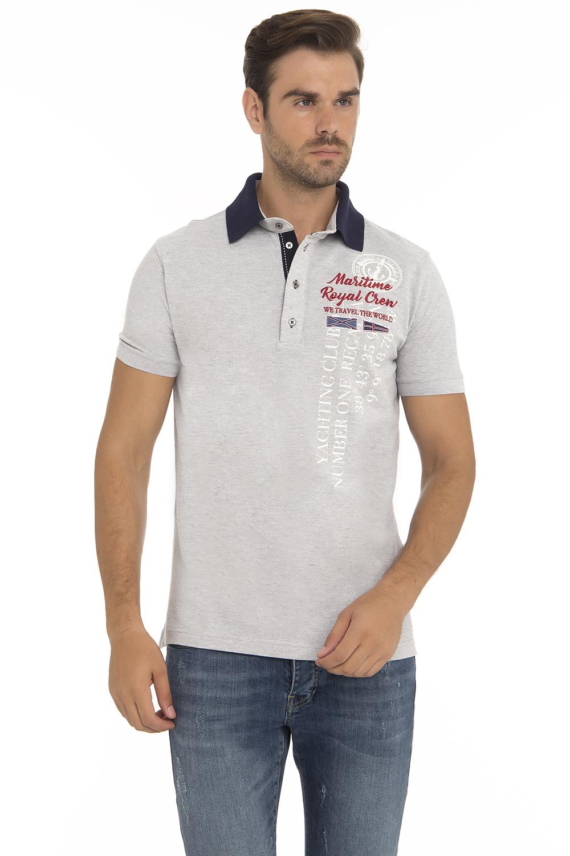Baumwoll Poloshirt Kurzarm Pique GRAU MEL. für Herren