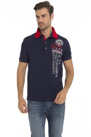 Men's Poloshirt Pique Navy Cotton
