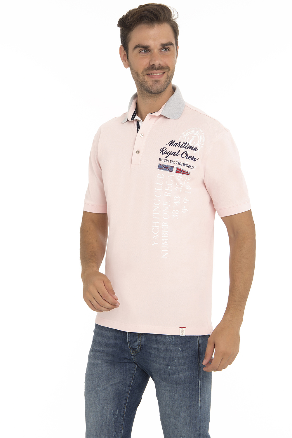 Men's Poloshirt Pique Pink Cotton