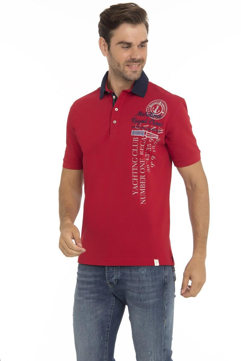 Baumwoll Poloshirt Kurzarm Pique ROT für Herren