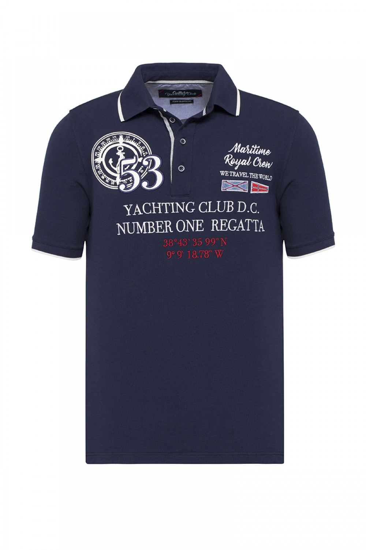 Baumwoll Poloshirt Kurzarm Pique NAVY für Herren