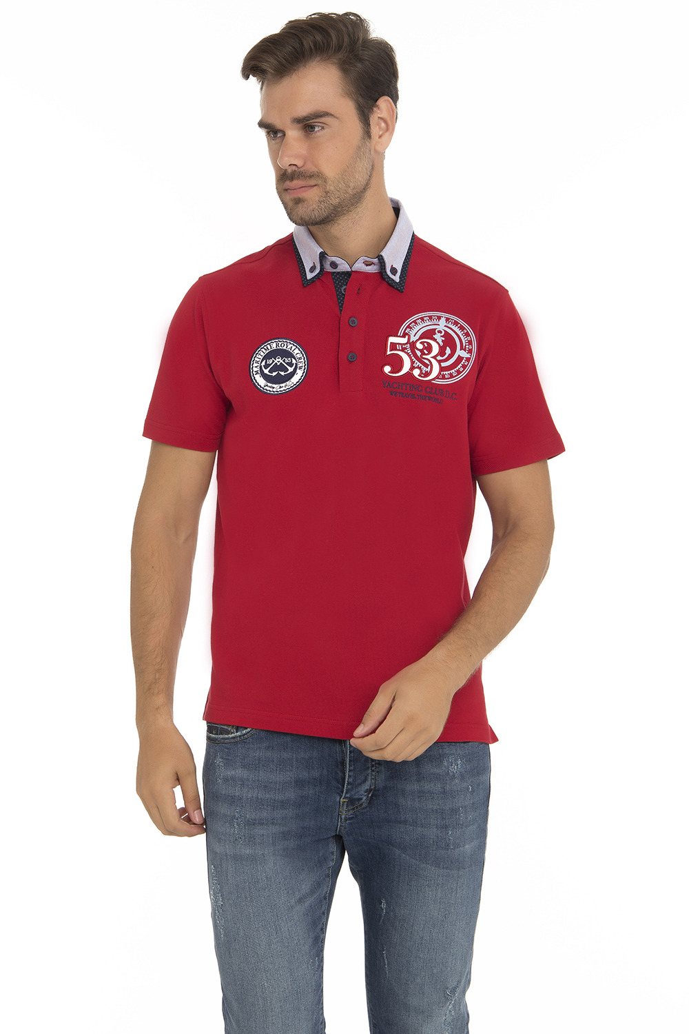 Men's Poloshirt Pique Red Cotton