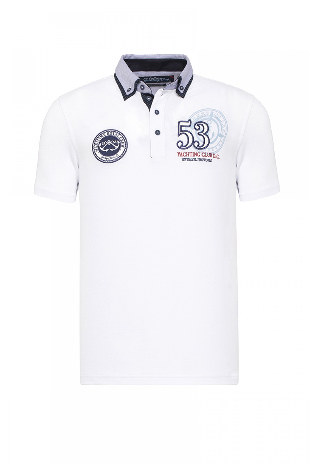 Men's Poloshirt Pique White Cotton
