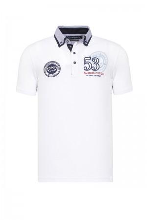 Men's Poloshirt Pique White Cotton