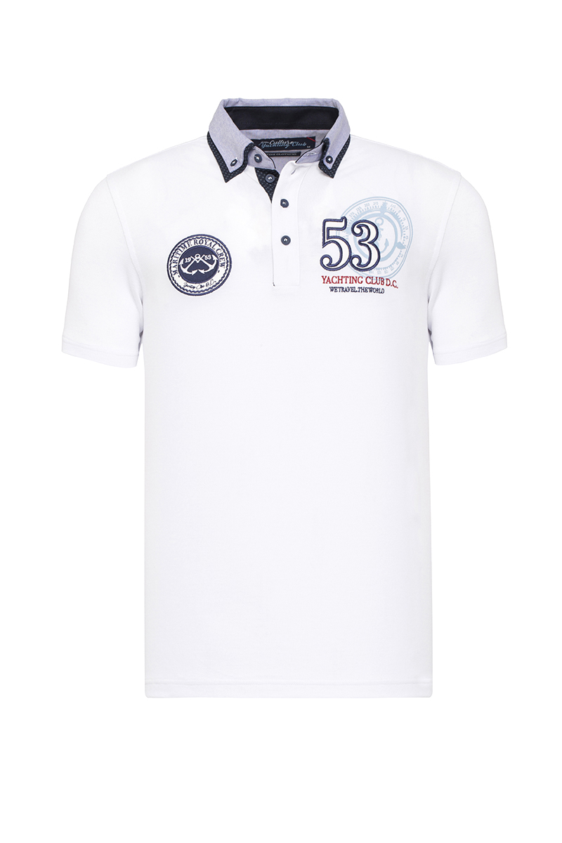 Baumwoll Poloshirt Kurzarm Pique WEISS für Herren