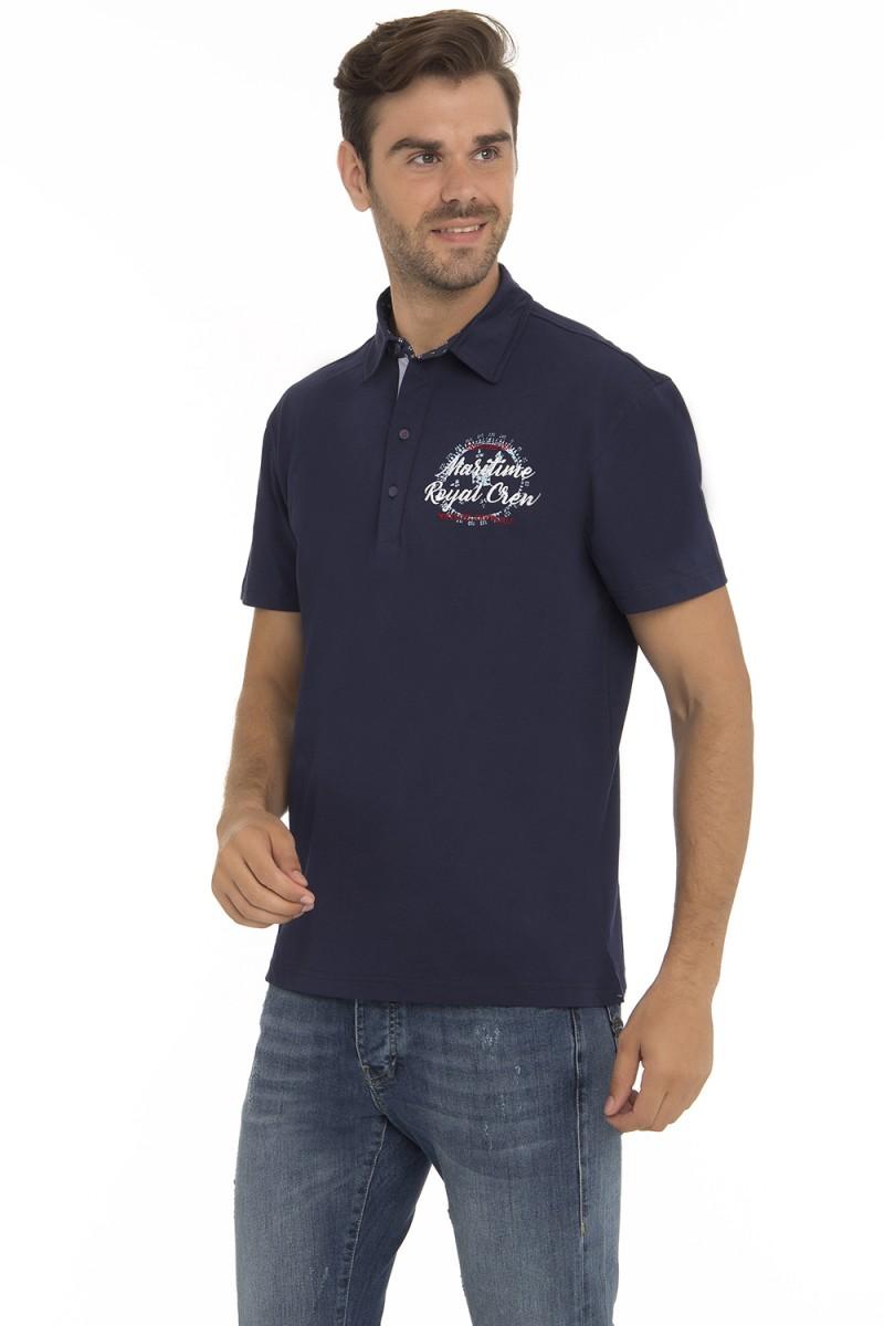 Baumwoll Poloshirt Kurzarm NAVY für Herren