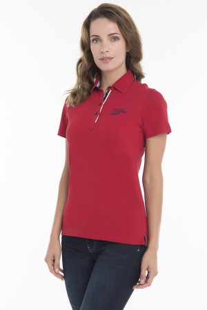 Women's Poloshirt Knitted Red Cotton