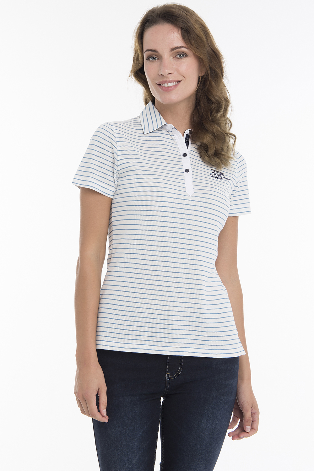 Women's Poloshirt Knitted White/Blue Cotton