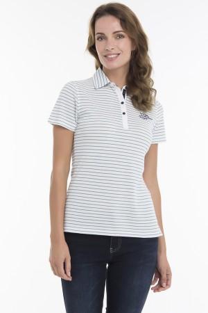 Baumwoll Poloshirt Kurzarm WEISS/BLAU für Damen