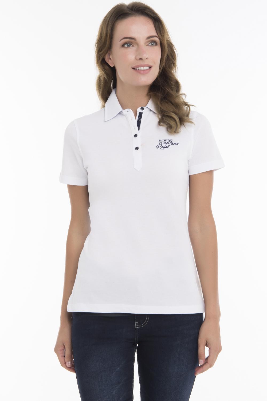 Baumwoll Poloshirt Kurzarm WEISS für Damen