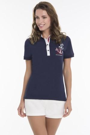 Baumwoll Poloshirt Kurzarm NAVY für Damen