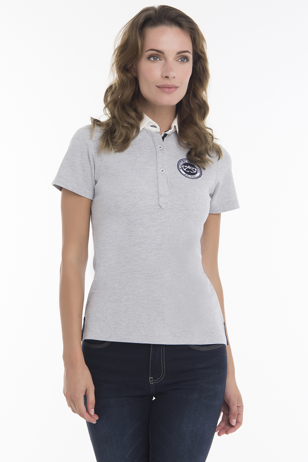 Women's Poloshirt Knitted Heather Gray Cotton