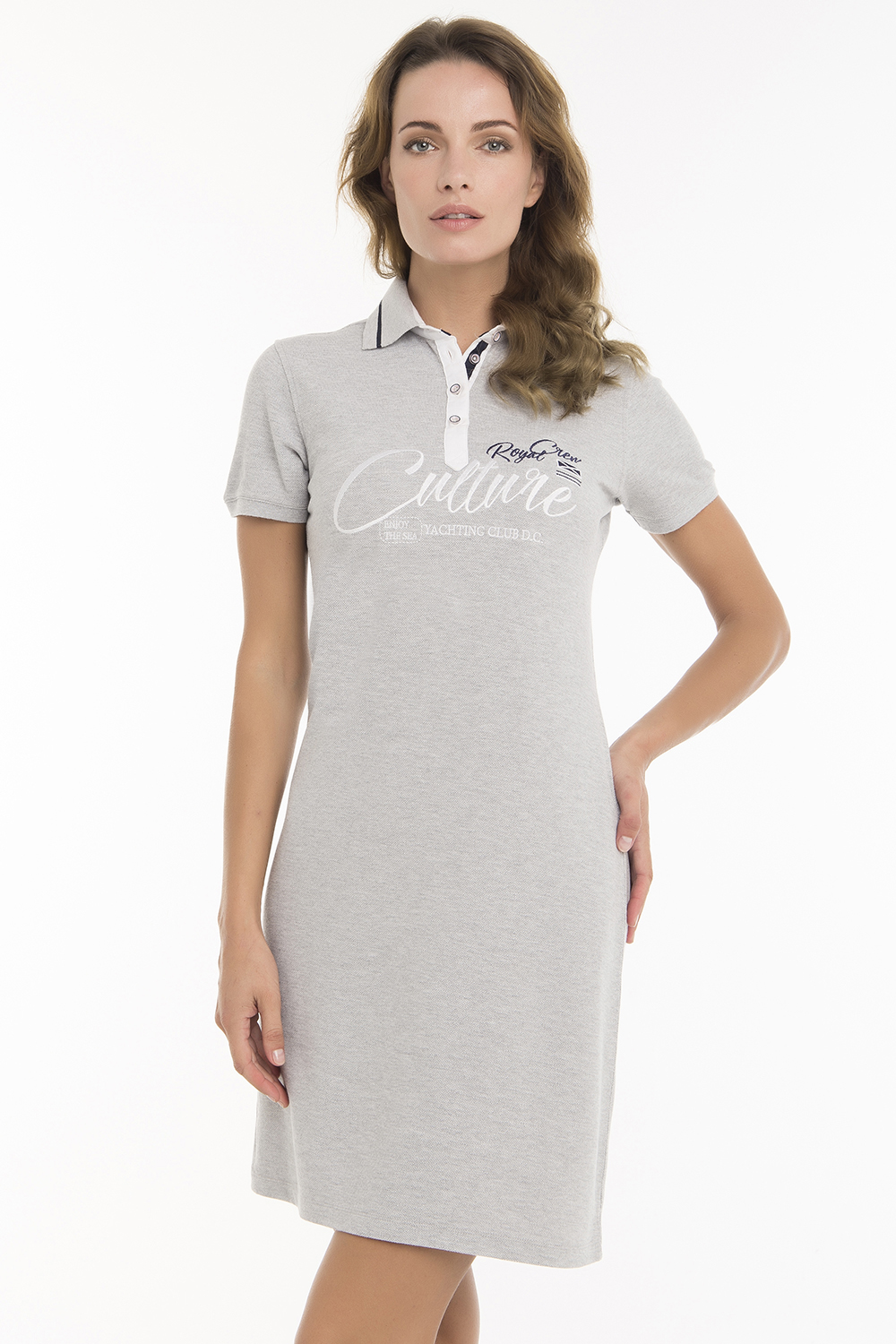 Damen Dress GRAU MEL. mit Print Baumwolle