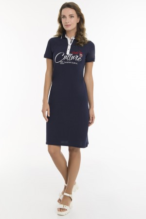 Damen Dress NAVY mit Print Baumwolle