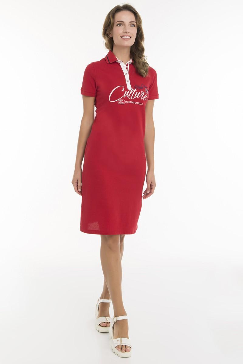 Women's Dress Red mit Print Baumwolle