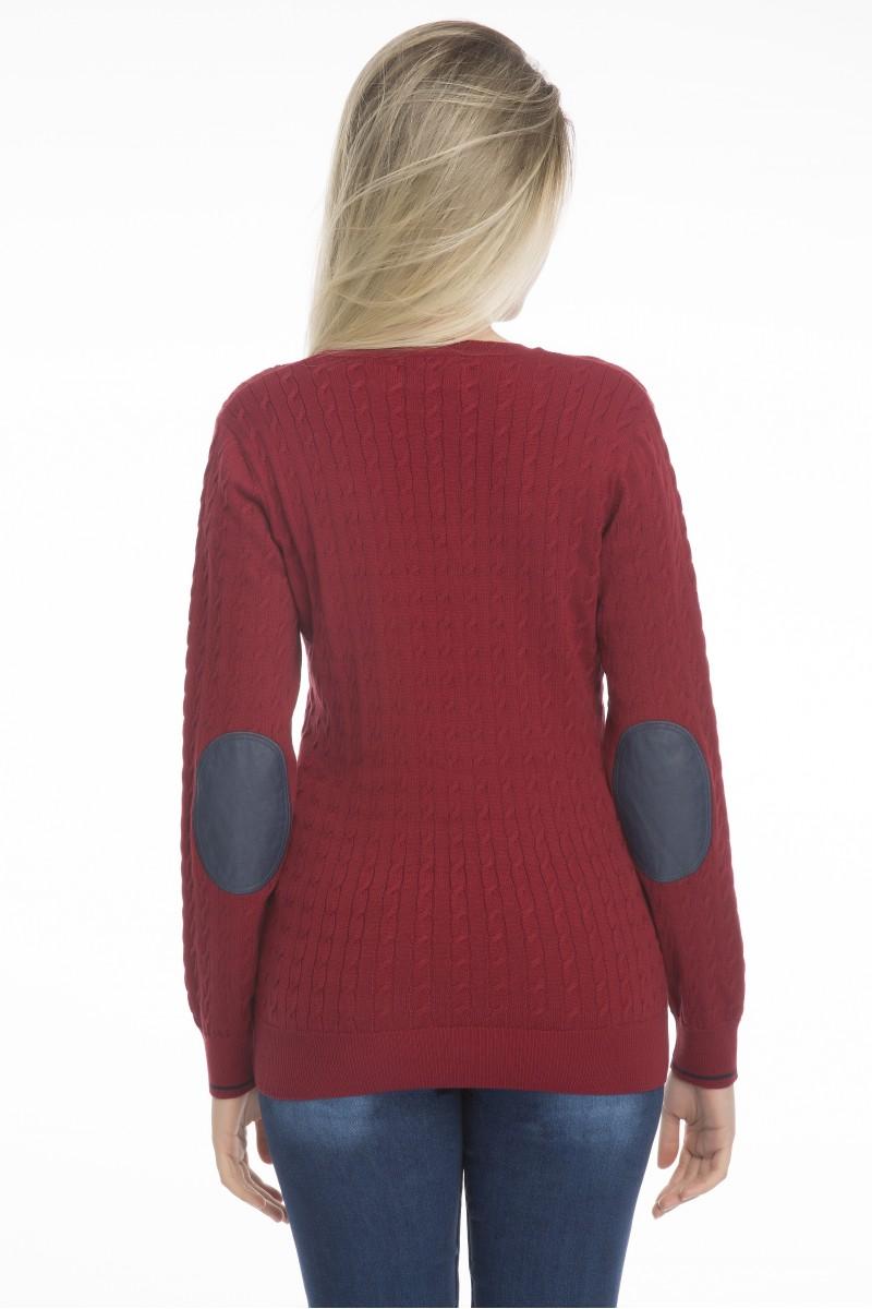 Baumwoll Pullover mit Ellenbogen-Patch V-Ausschnitt BORDOAUX für Damen