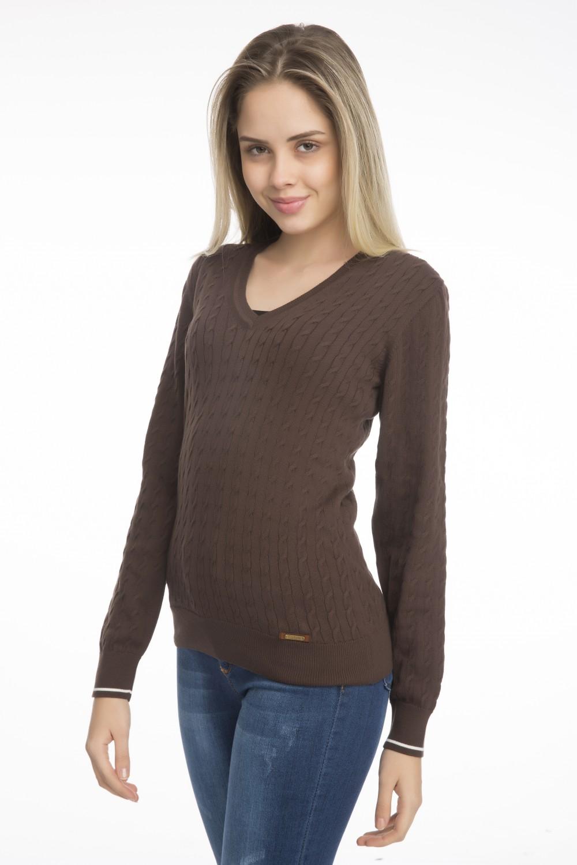 Women's Pullover  V-neck Brown Cotton