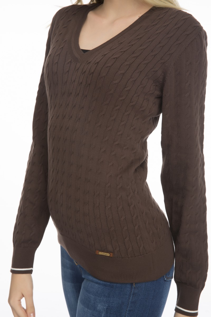 Baumwoll Pullover mit Ellenbogen-Patch V-Ausschnitt BRAUN für Damen