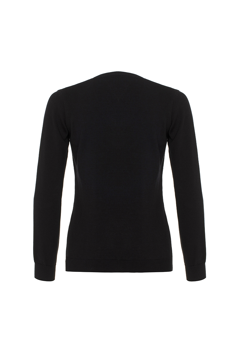 Baumwoll Pullover V-Ausschnitt BLACK für Damen