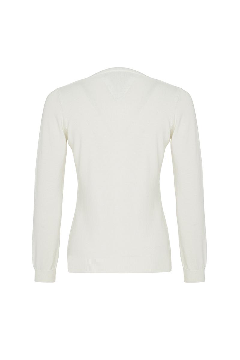 Baumwoll Pullover V-Ausschnitt ECRU für Damen