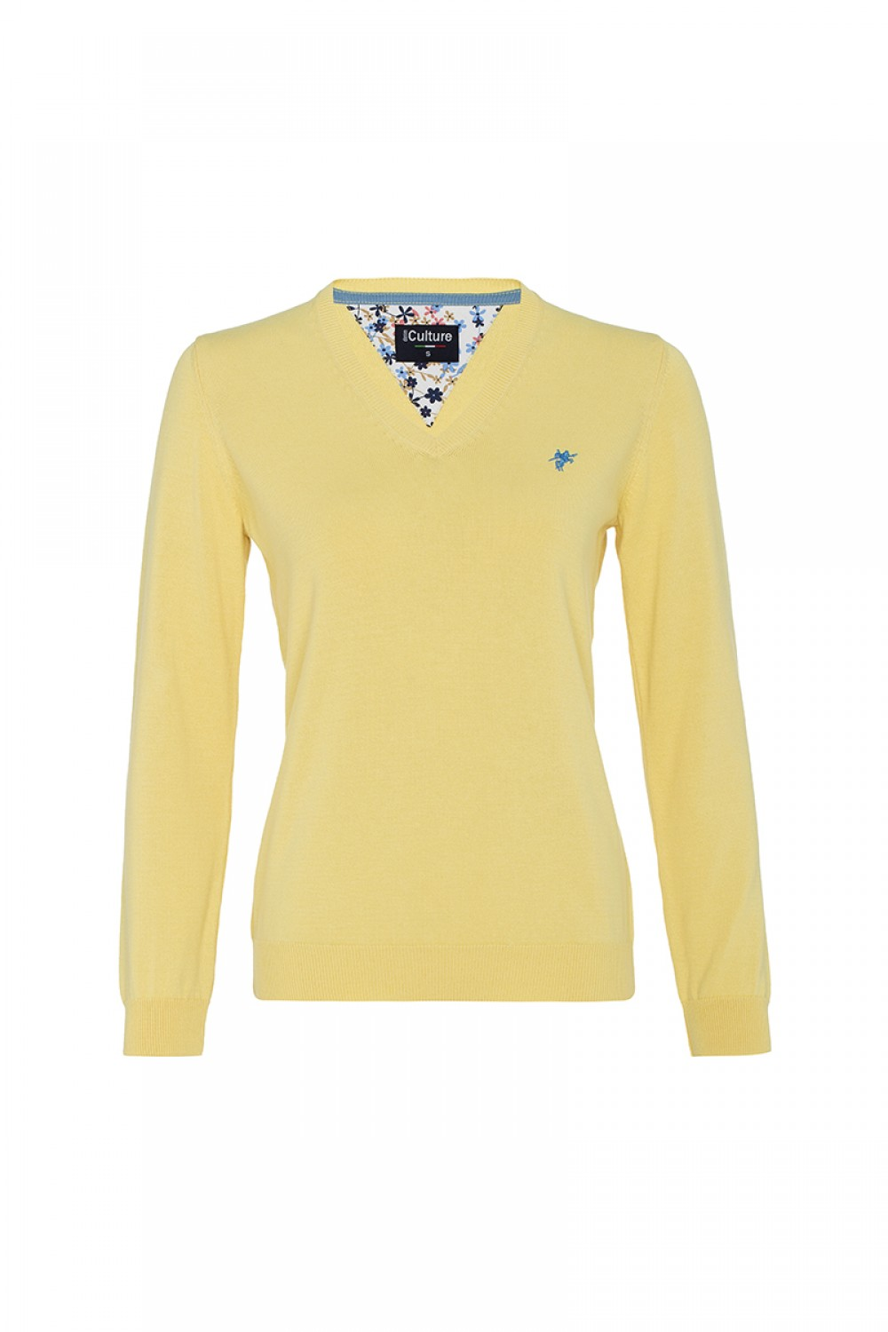 Women's Pullover  V-neck Yellow Cotton
