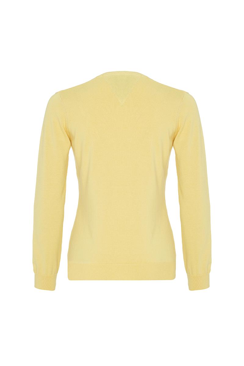 Baumwoll Pullover V-Ausschnitt GELB für Damen