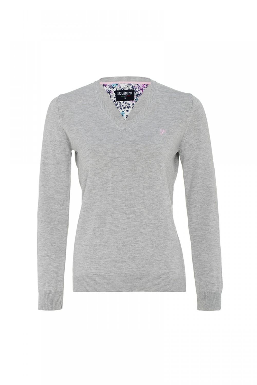 Women's Pullover  V-neck Heather Gray Cotton