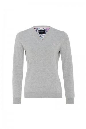 Baumwoll Pullover V-Ausschnitt GRAU MEL. für Damen