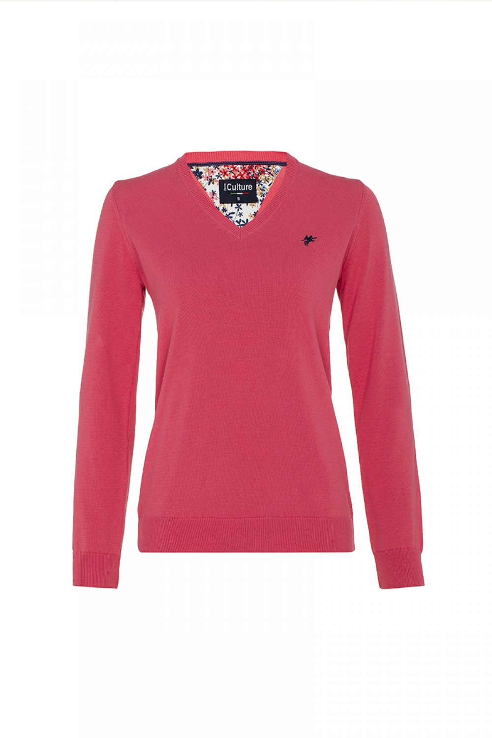 Women's Pullover  V-neck Coral Cotton