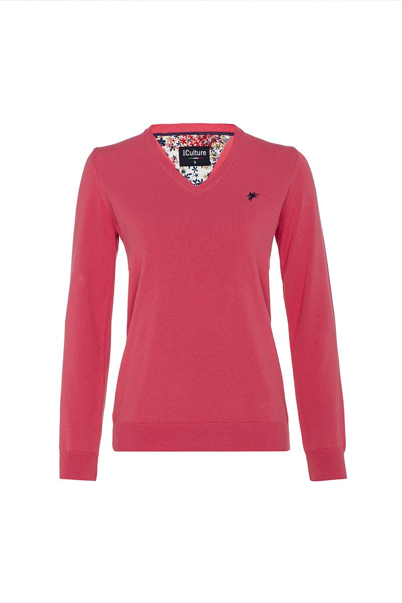 Baumwoll Pullover V-Ausschnitt KORALLE für Damen