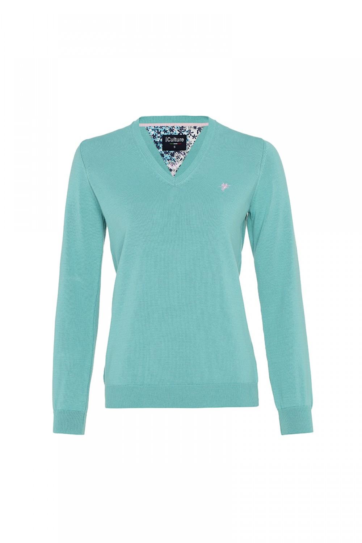 Baumwoll Pullover V-Ausschnitt MINT für Damen