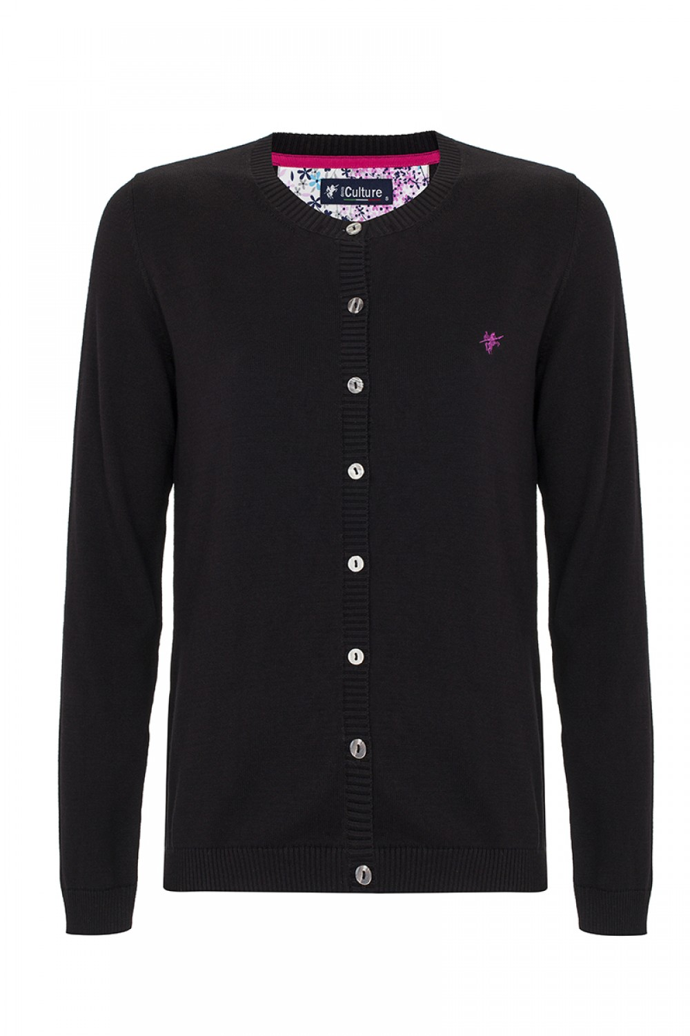 Women's Cardigan Button Crew Neck Black