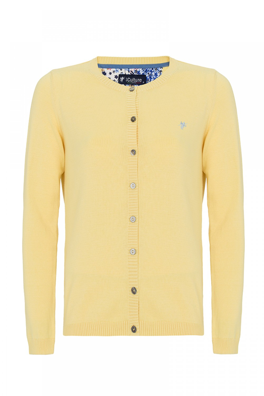 Women's Cardigan Button Crew Neck Yellow