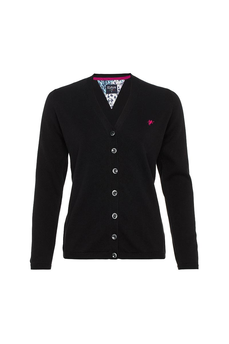 Damen Strickjacke mit Knopf V-Ausschnitt BLACK