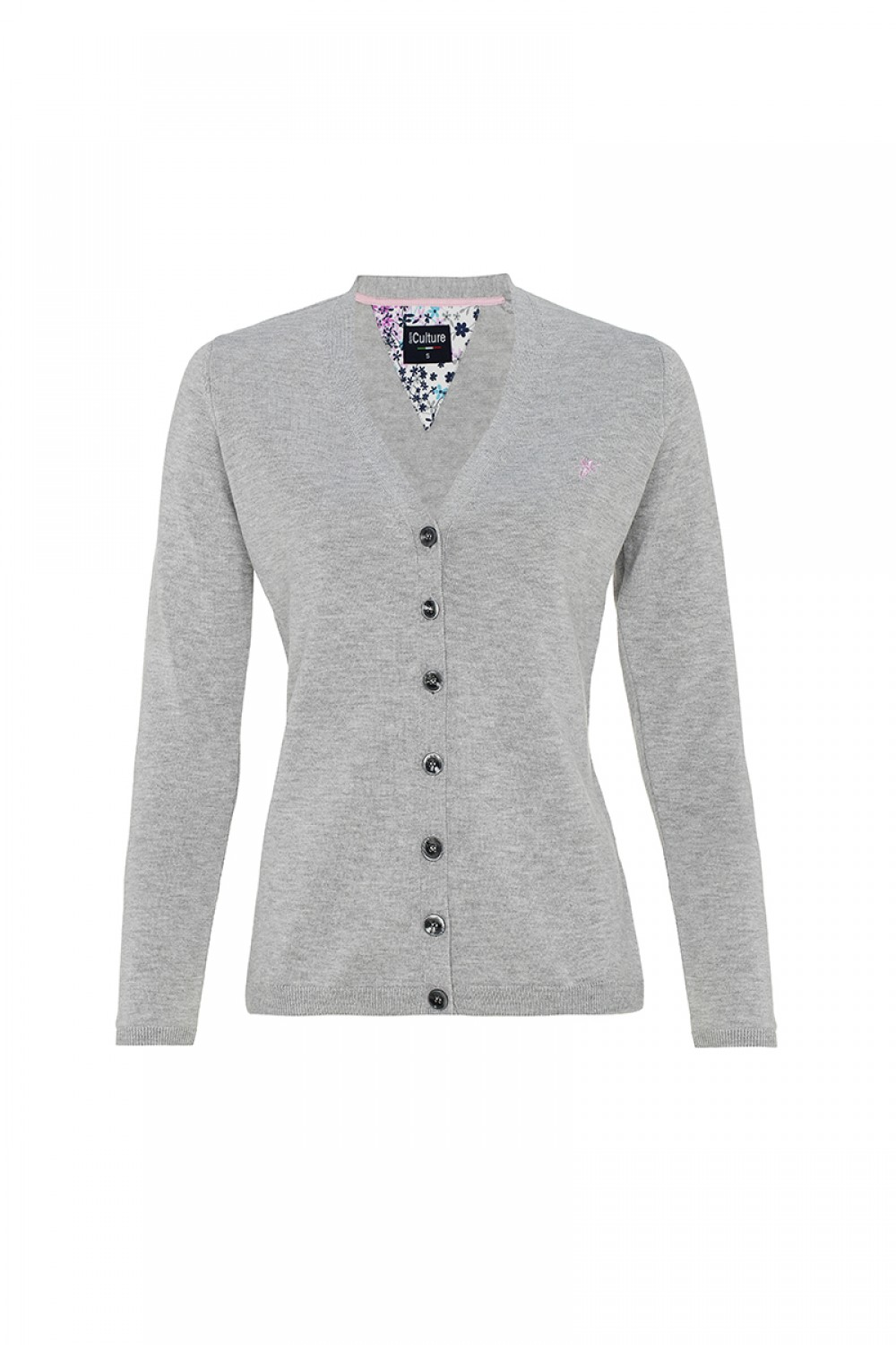 Women's Cardigan Button V-neck Heather Gray